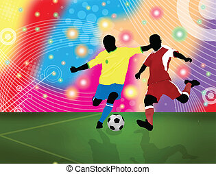 Soccer poster - Action players poster background, vector...