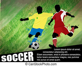 Soccer players with a soccer ball poster. Soccer design illustration with space for your text