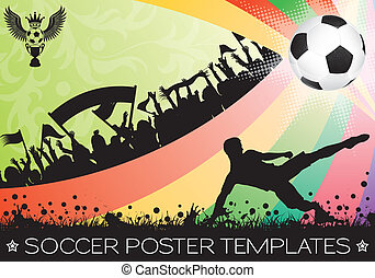 Soccer Poster with Ball on Grunge Background, Silhouette...