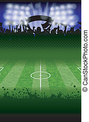 Soccer Poster with Fans and Field, vector