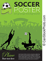 Soccer Poster with Players and Fans on grunge background, ...