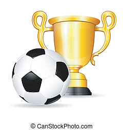 Soccer Poster with Soccer Ball and Gold Trophy, vector isolated on white background