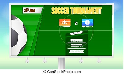 Soccer poster with text design on white billboard. Banner of tournament of football with the layout of the playing field and soccer ball. Template for advertising sports event. Vector 3D illustration.