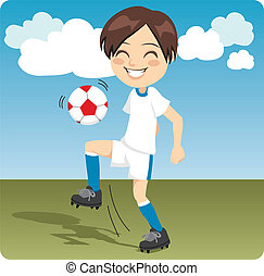 Soccer Practice - Kid practicing soccer knee kicks on the...