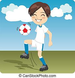 Soccer Practice - Kid practicing soccer knee kicks on the...