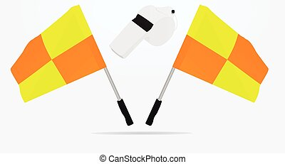 Soccer referee flags and whistle