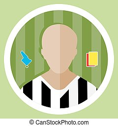 Soccer Referee Icon - Soccer Referee flat circular icon on a...