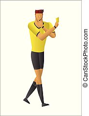 soccer referee showing yellow card.