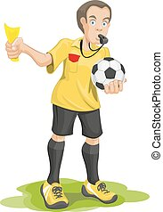 Soccer referee whistles and shows yellow card. Isolated...