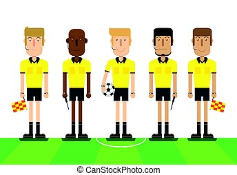 Soccer referees on white background.