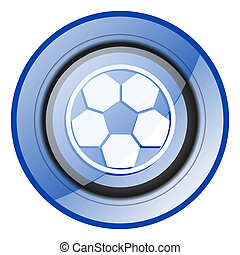 Soccer round blue glossy web design icon isolated on white background