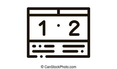 Soccer Scoreboard Icon Animation. black Soccer Scoreboard animated icon on white background