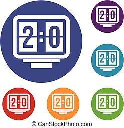 Soccer scoreboard icons set