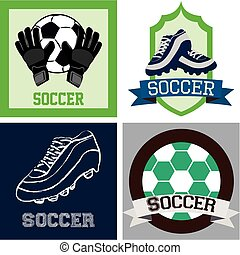 Set of colored backgrounds and labels with soccer elements. Vector illustration