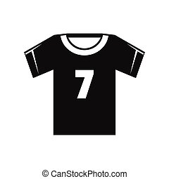 Soccer shirt icon, black silhouette style - Soccer shirt...