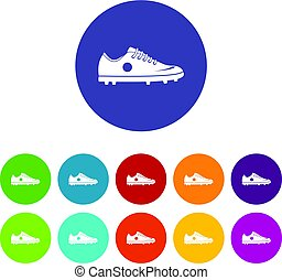 Soccer shoe icons set flat vector
