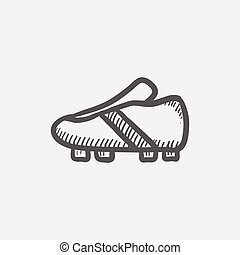 Soccer shoes sketch icon