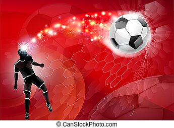 A soccer football player silhouette abstract red background