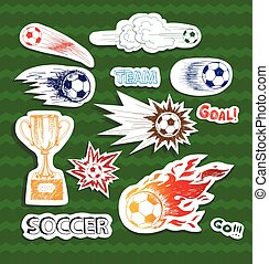 Soccer sketch stickers