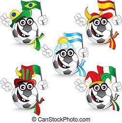 Soccer Smileys - Set of Soccer smileys: brazil, spain, ...