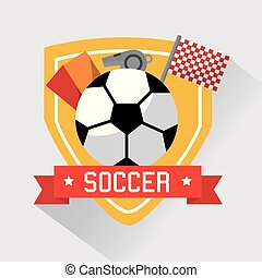 soccer sport ball cards whistle and flag