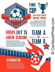 Soccer sport competition banner of football match