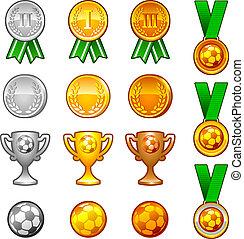 Soccer sport medals and awards set