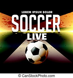 soccer sports poster design with football