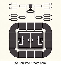 Soccer stadium, Chart for Groups and Teams.