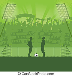 Soccer Stadium - Football Stadium with Soccer Players and...