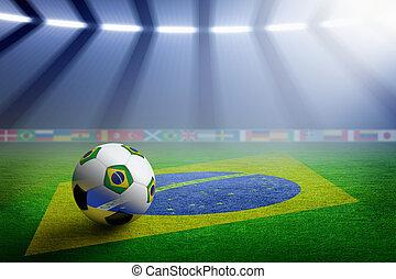 Soccer stadium, flag of Brazil - Soccer ball, green soccer...