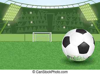 Soccer Stadium - Football Stadium with Soccer Ball and Fans,...