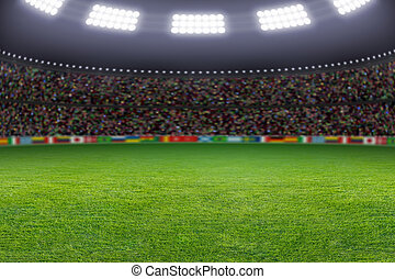 Soccer stadium - Green soccer stadium, illuminated field,...