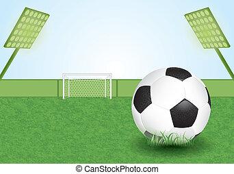 Soccer Stadium - Football Stadium with Soccer Ball and Goal,...
