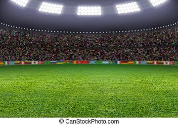Soccer stadium - Green soccer stadium, illuminated field,...