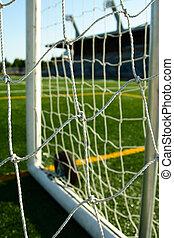 Soccer stadium - A shot of a soccer goal on a soccer stadium