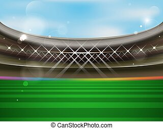 Soccer stadium vector banner. Football arena with spotlights, tribunes and green grass.