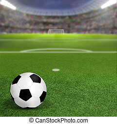 Soccer Stadium With Ball on Field and Copy Space
