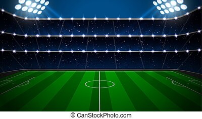 Soccer stadium with green field.