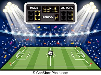 Soccer stadium with scoreboard - Soccer stadium with flat...