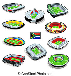 South african soccer stadium info-graphics with flag