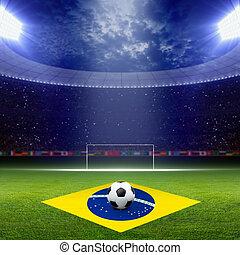 Soccer staduim, Brazil flag - Soccer ball, green soccer...