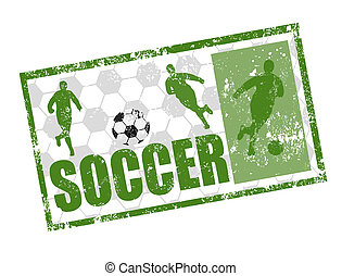 soccer stamp - Green grunge rubber stamp with soccer players...