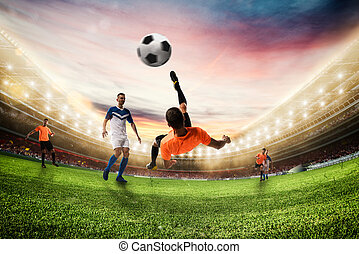 Soccer striker hits the ball with an acrobatic bicycle kick. 3D Rendering