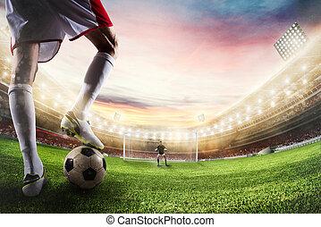 Soccer striker ready to kicks the ball in front of goalkeeper. 3D Rendering