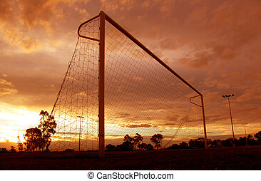 Soccer Sunset - Orange Sunset over Soccer Goal
