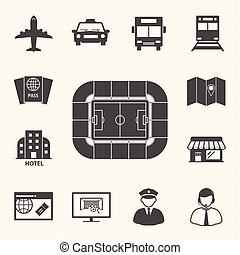 Soccer symbol icons, Access to football stadium. Vector icons set