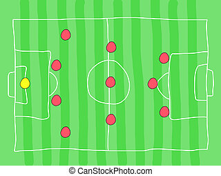 Soccer tactics - Soccer field - doodle drawing. Football...