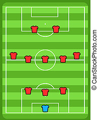Soccer tactics - Soccer field illustration. Football tactics...