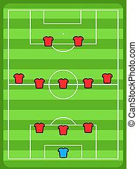 Soccer field illustration. Football tactics and strategy - popular 3-5-2 team formation.